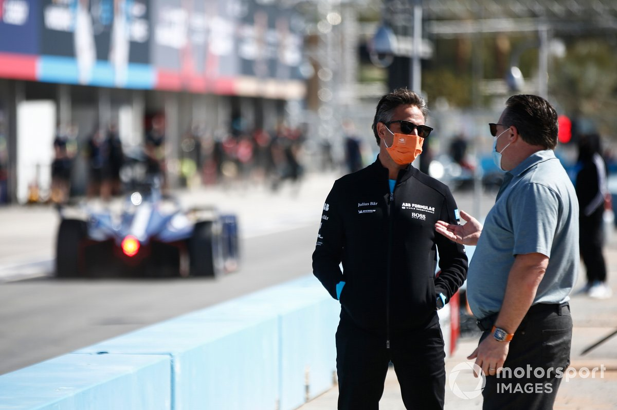 Jamie Reigle, CEO of Formula E, talks with Zak Brown, McLaren