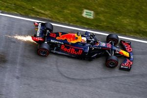 Sparks trail behind Max Verstappen, Red Bull Racing RB16B