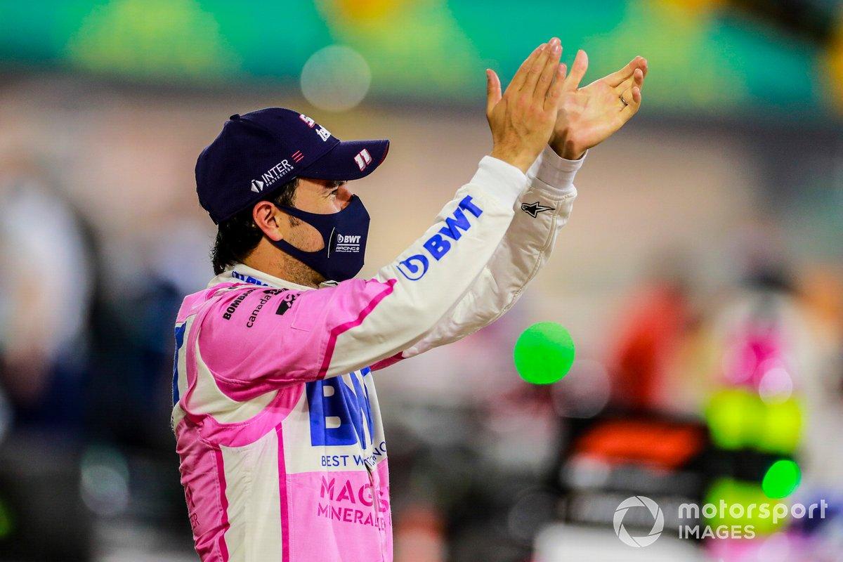 Ganador Sergio Pérez, Racing Point celebra en parc Ferme