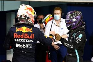 Pole man Max Verstappen, Red Bull Racing, and Lewis Hamilton, Mercedes, after Qualifying