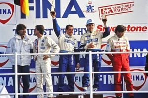 Podium for the winners of each Division. Altfrid Heger, Roberto Ravaglia, BMW, Division 2, Alain Ferté, Andy Rouse, Ford Division 3 and Phil Dowsett, Tiff Needell, Toyota, Division 1