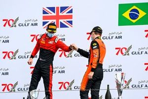 Callum Ilott, UNI-Virtuosi and Race winner Felipe Drugovich, MP Motorsport celebrate on the podium
