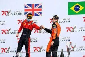 Callum Ilott, UNI-Virtuosi and Race winner Felipe Drugovich, MP Motorsport celebrate on the podium