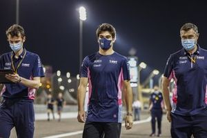 Lance Stroll, Racing Point, walks the track