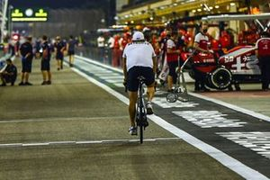 Valtteri Bottas, Mercedes-AMG F1, cycles along the pitlane