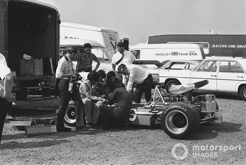 The Bellasi F170-Ford of Silvio Moser being worked on by the mechanics in the paddock car park