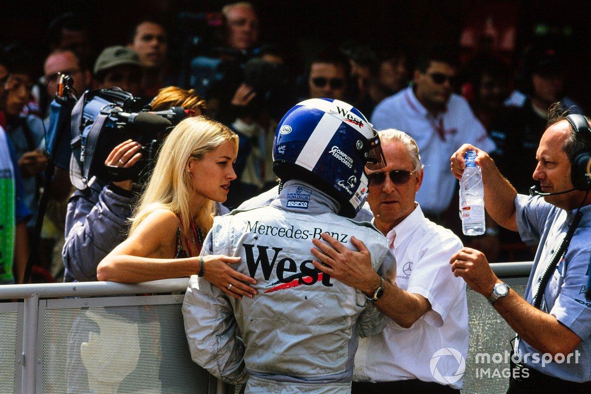 David Coulthard with his girlfriend Heidi Wichlinski, and Ron Dennis, Team Principal, McLaren