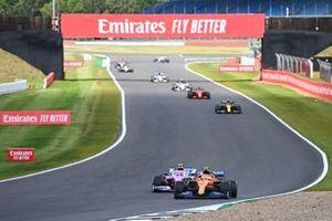 Lando Norris, McLaren MCL35, battles with Lance Stroll, Racing Point RP20
