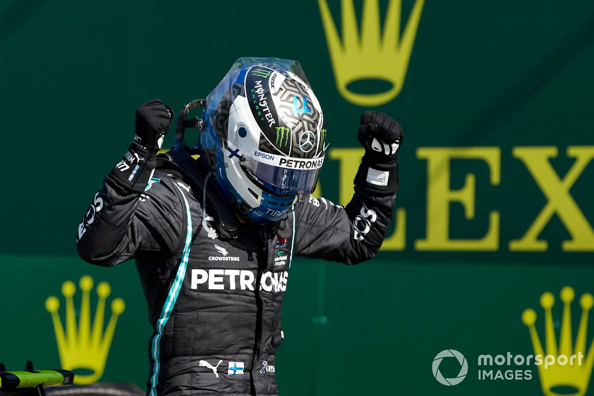 Valtteri Bottas, Mercedes AMG F1, celebra en después de ganar la carrera