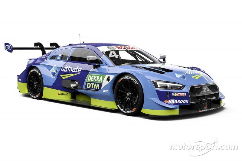 ... Teamkollegen Robin Frijns verhält sich die Lage ähnlich: Sein RS 5 erstrahlt weiterhin in Hellblau, was es den DTM-Fans einfach macht.