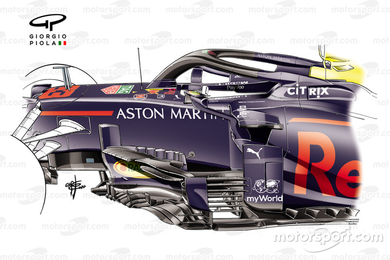 Red Bull Racing RB16 extra koeling detail