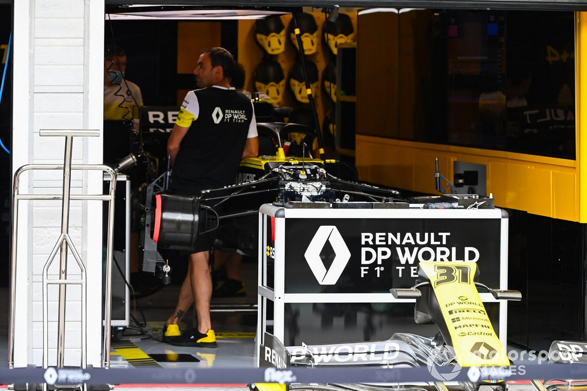 Renault F1 Team R.S.20 is worked on in the team's garage