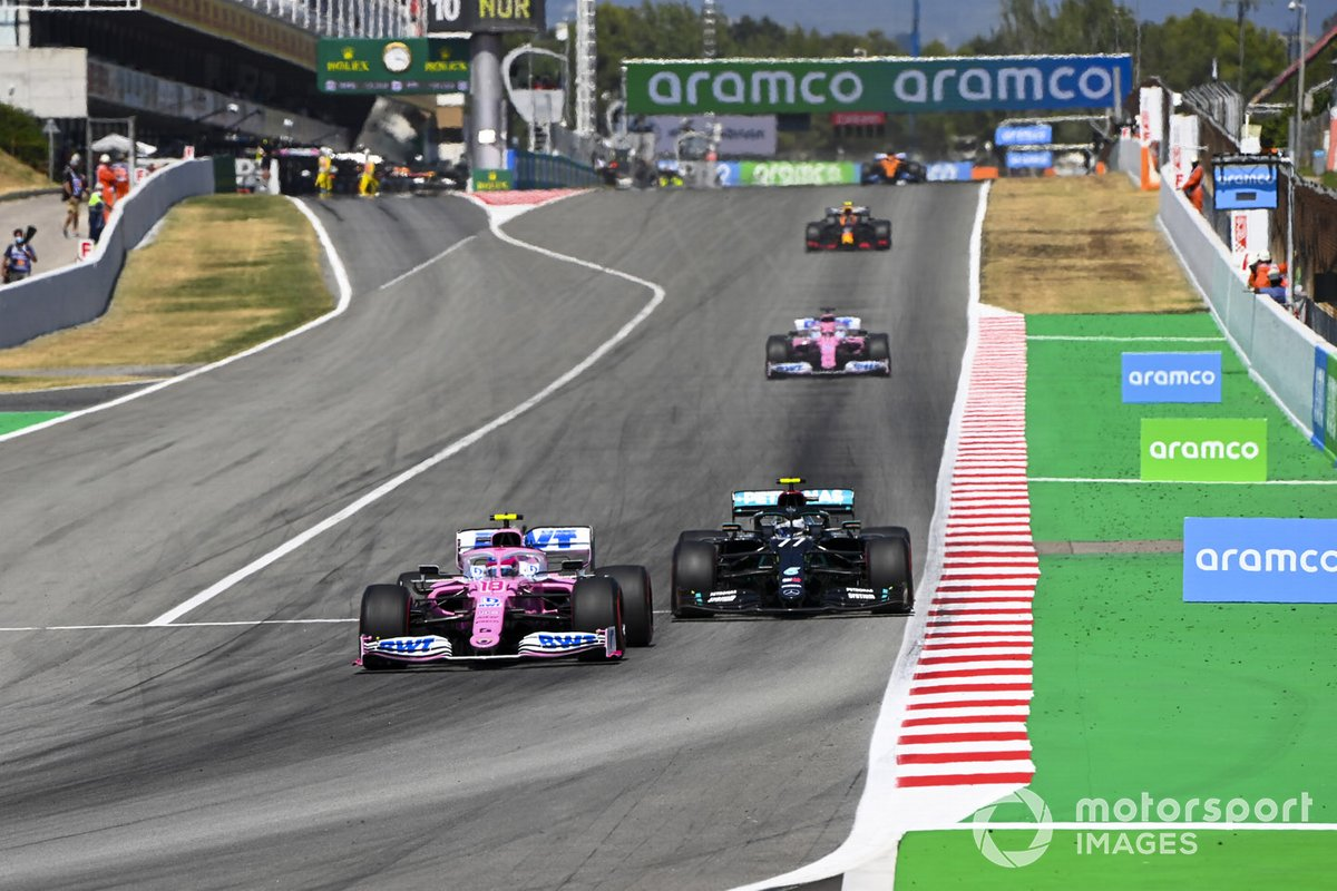 Lance Stroll, Racing Point RP20, leads Valtteri Bottas, Mercedes F1 W11 EQ Performance, Sergio Pérez, Racing Point RP20