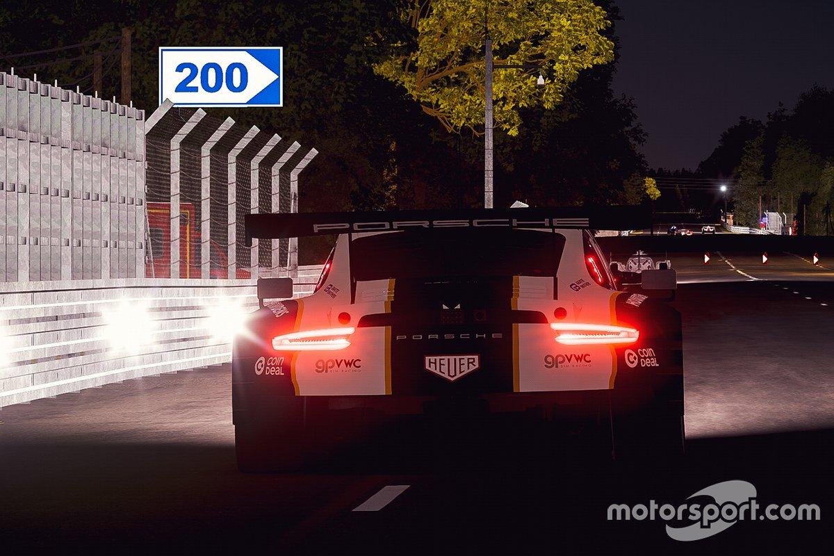 Acción de carrera nocturna de Porsche