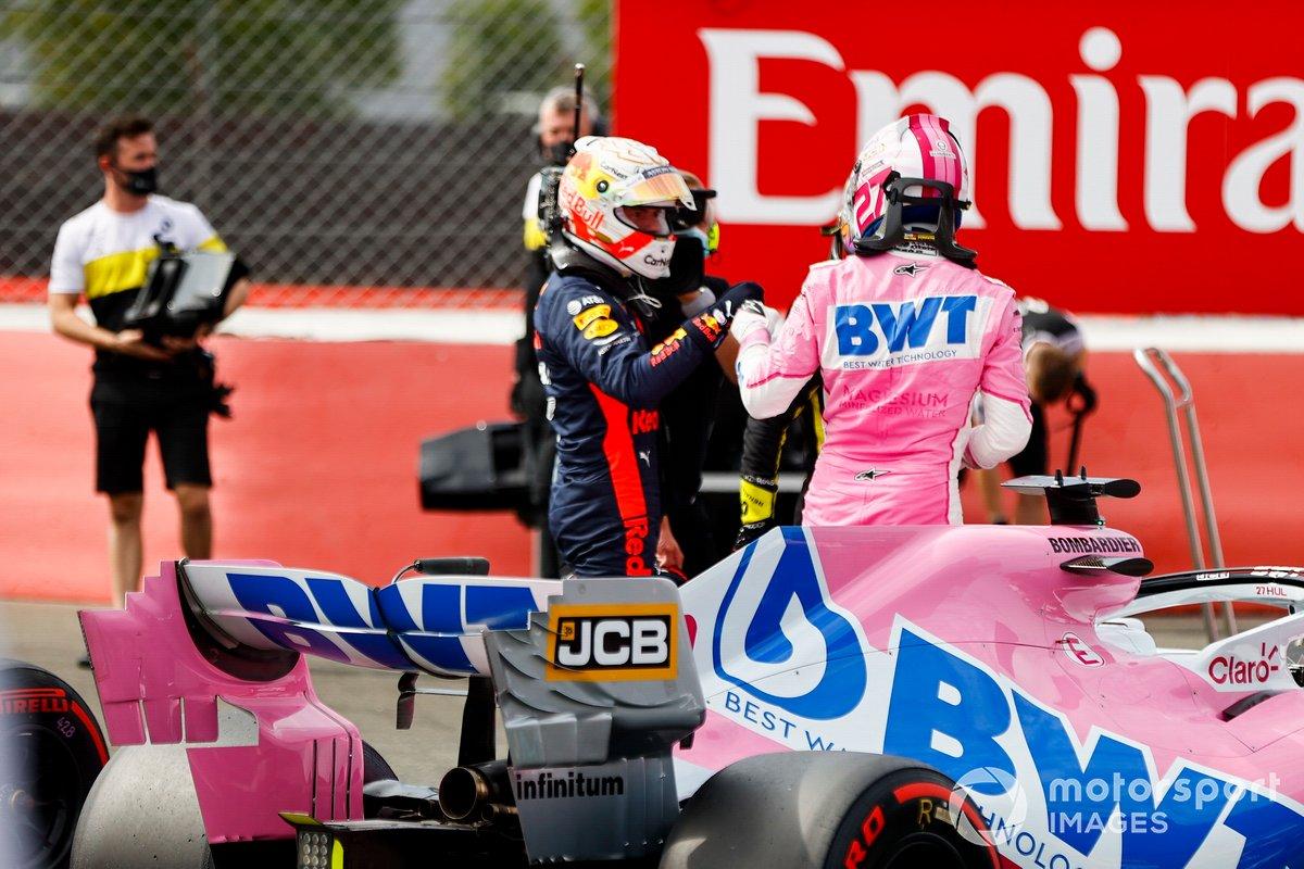 Max Verstappen, Red Bull Racing y el tercer puesto Nico Hulkenberg, Racing Point celebran en Parc Ferme