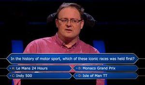 Эфир передачи «Кто хочет стать миллионером?» с вопросом на миллион об автоспорте
