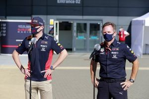 Max Verstappen, Red Bull Racing and Christian Horner, Team Principal, Red Bull Racing speaks to the media