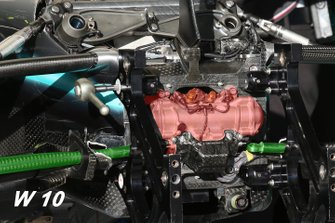 Mercedes AMG F1 W10 front suspension detail highlighted