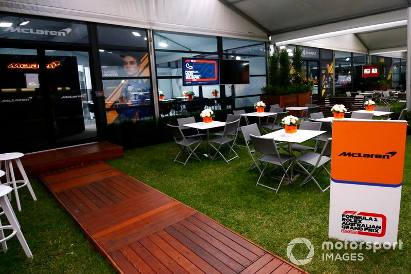 Outside the McLaren hospitality area