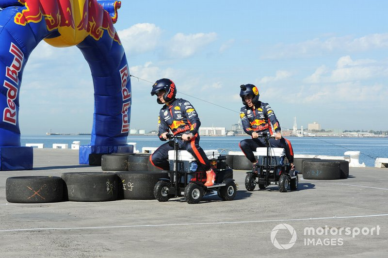 Max Verstappen, Red Bull Racing and Alex Albon, Red Bull Racing at a Red Bull event Grand Pier in St Kilda