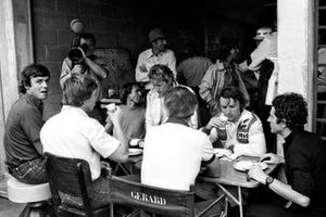 The French drivers enjoy lunch together: Patrick Tambay, McLaren; Didier Pironi, Tyrrell; Jacques Laffite, Ligier; Jean-Pierre Jabouille, Renault; Rene Arnoux, Renault; Patrick Depailler, Tyrrell. Brazilian Grand Prix, Rd 2, Interlagos, Brazil, 4 February 1979.