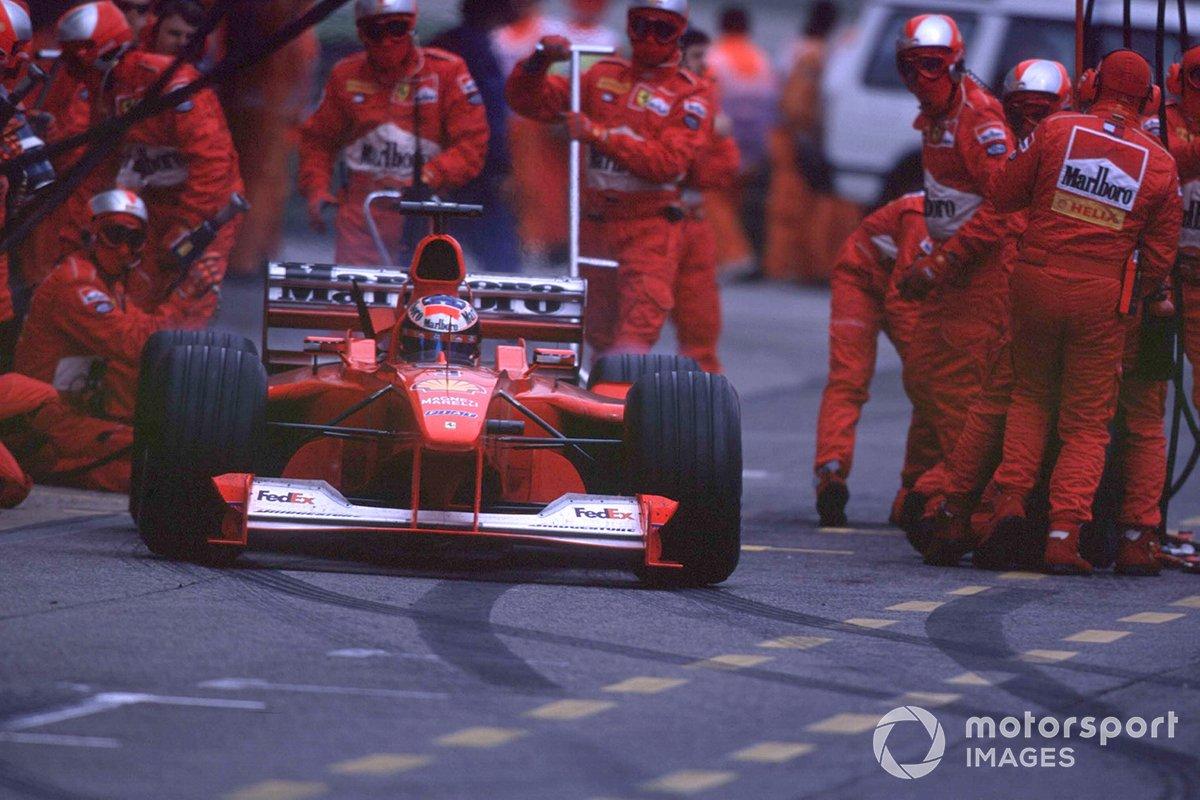 Michael Schumacher, Ferrari F1 2000, exits the pits