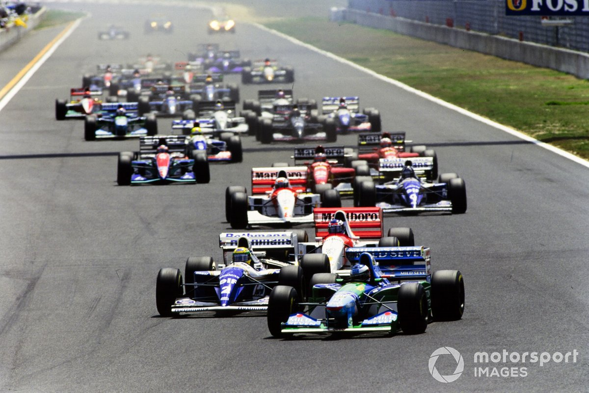 Michael Schumacher, Benetton B194 Ford, Ayrton Senna, Williams FW16 Renault, Mika Häkkinen, McLaren MP4-9 Peugeot, Martin Brundle, McLaren MP4-9 Peugeot, Damon Hill, Williams FW16 Renault
