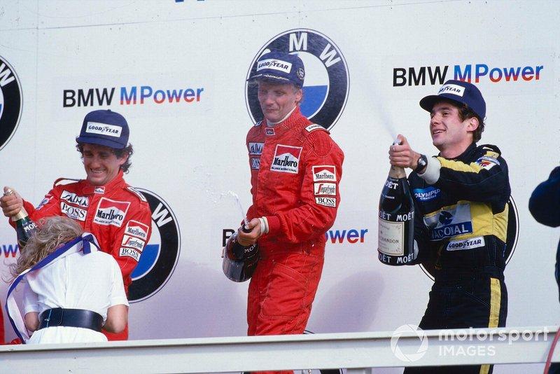 Niki Lauda, McLaren, Alain Prost, McLarne, Ayrton Senna, Lotus, GP d'Olanda del 1985