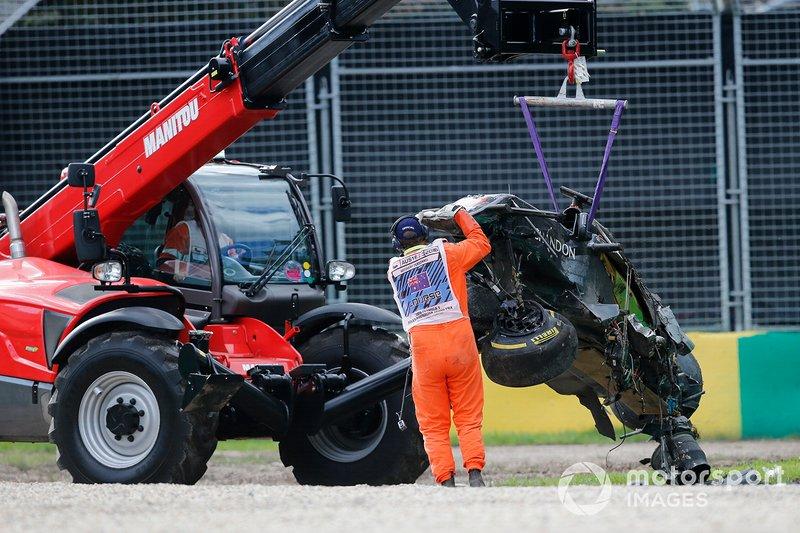 La macchina Fernando Alonso, McLaren MP4-31 dopo l'incidente, GP d'Australia 2016