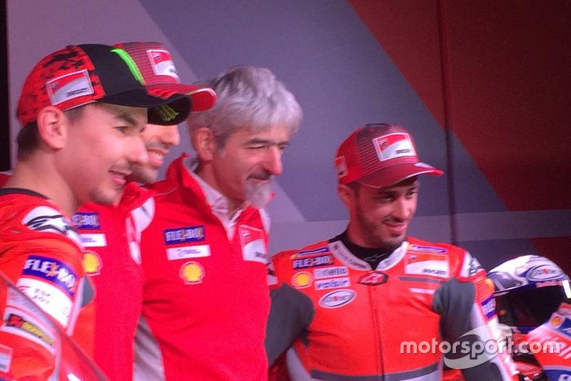 Jorge Lorenzo, Ducati Team, Michele Pirro, probador de Ducati, Gigi dall'Igna y Andrea Dovizioso, Ducati Team