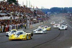 #7 Joest Racing Porsche 956: Klaus Ludwig, Paolo Barilla, John Winter leads at the start
