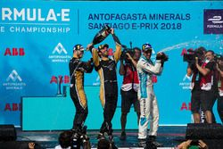 Jean-Eric Vergne, Techeetah, Andre Lotterer, Techeetah enjoy their Mumm Champagne on the podium with