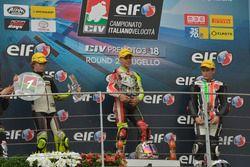 Podio 125: il vincitore Manuel Margarito, il secondo classificato Jacopo Hosciuc, il terzo classificato Filippo Bianchi