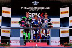 Podium: Race winner Galang Hendra, Yamaha, second place Scott Deroue, Kawasaki, third place Alfonso