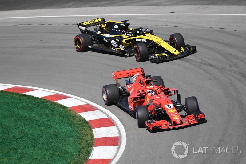 Sebastian Vettel, Ferrari SF71H ve Nico Hulkenberg, Renault Sport F1 Team R.S. 18