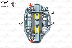 Caliper de frenos Brembo de 5 pistones