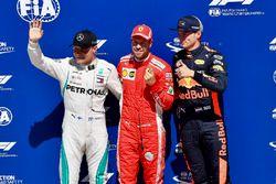 Valtteri Bottas, Mercedes-AMG F1, Sebastian Vettel, Ferrari and Max Verstappen, Red Bull Racing in p