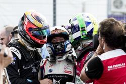 Jean-Eric Vergne, Techeetah, celebrates with Sam Bird, DS Virgin Racing, Lucas di Grassi, Audi Sport