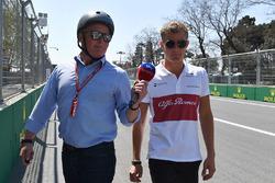 Marcus Ericsson, Sauber walks the track and talks with Johnny Herbert, Sky TV