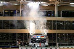Podium celebrations and fireworks