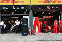 Mercedes AMG F1 and Ferrari garages