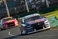 Jamie Whincup, Triple Eight Race Engineering Holden, leads Scott McLaughlin, DJR Team Penske Ford