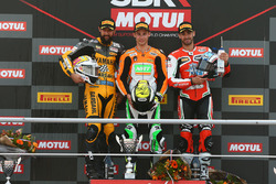 Podium: race winner Jules Cluzel, NRT, second place Randy Krummenacher, BARDAHL Evan Bros, third place Raffaele De Rosa, MV Agusta Reparto Corse by Vamag
