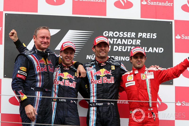 2009: Race winner, Sebastian Vettel, Red Bull Racing, second place Mark Webber, Red Bull Racing and third place Felipe Massa, Ferrari