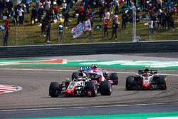 Romain Grosjean, Haas F1 Team VF-18 Ferrari, Kevin Magnussen, Haas F1 Team VF-18 Ferrari, et Esteban Ocon, Force India VJM11 Mercedes