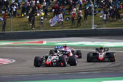 Romain Grosjean, Haas F1 Team VF-18 Ferrari, Kevin Magnussen, Haas F1 Team VF-18 Ferrari, and Esteban Ocon, Force India VJM11 Mercedes