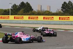 Lance Stroll, Williams FW41 Mercedes, Esteban Ocon, Force India VJM11 Mercedes, and Sergio Perez, Force India VJM11 Mercedes