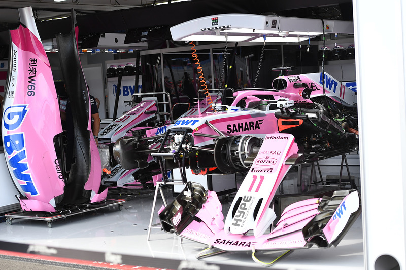 Force India VJM11 in the garage
