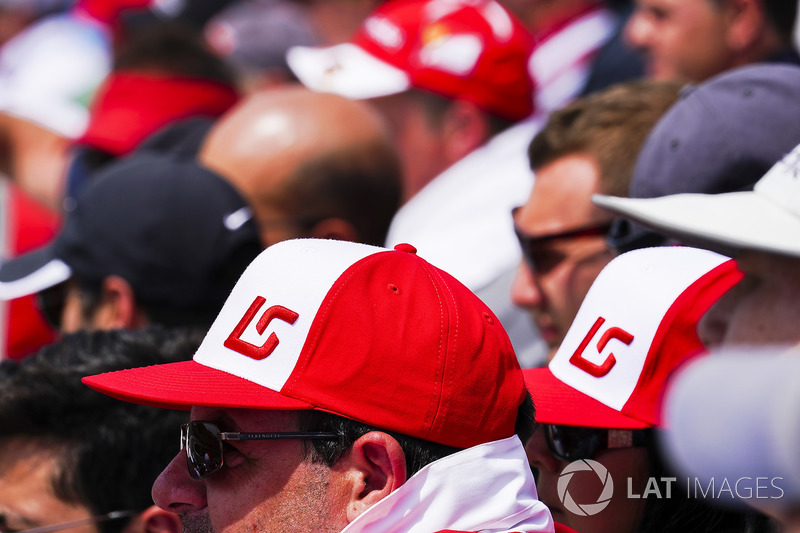 Fans wear hats in support of Lance Stroll, Williams Racing