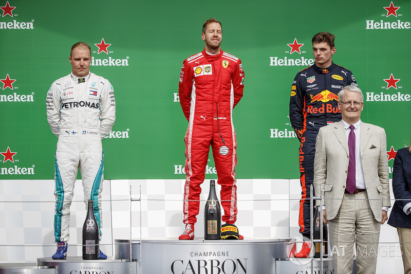 Valtteri Bottas, Mercedes AMG F1, 2nd position, Sebastian Vettel, Ferrari, 1st position, and Max Verstappen, Red Bull Racing, 3rd position, on the podium